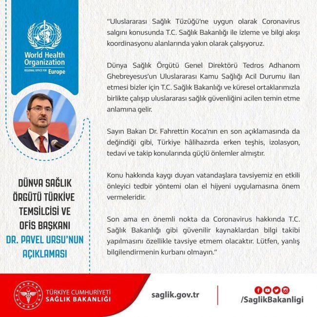 Dünya Sağlık Örgütü Türkiye Temsilcisi ve Ofis Başkanı Dr. Pavel Ursu Koronavirüs konusunda açıklama yaptı.